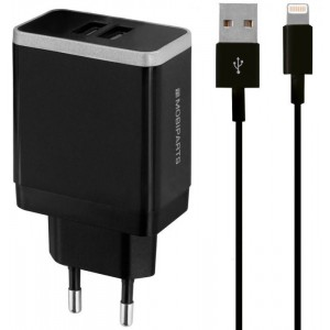 Mobiparts Wall Charger Dual USB 2.4A + Lightning Cable Black